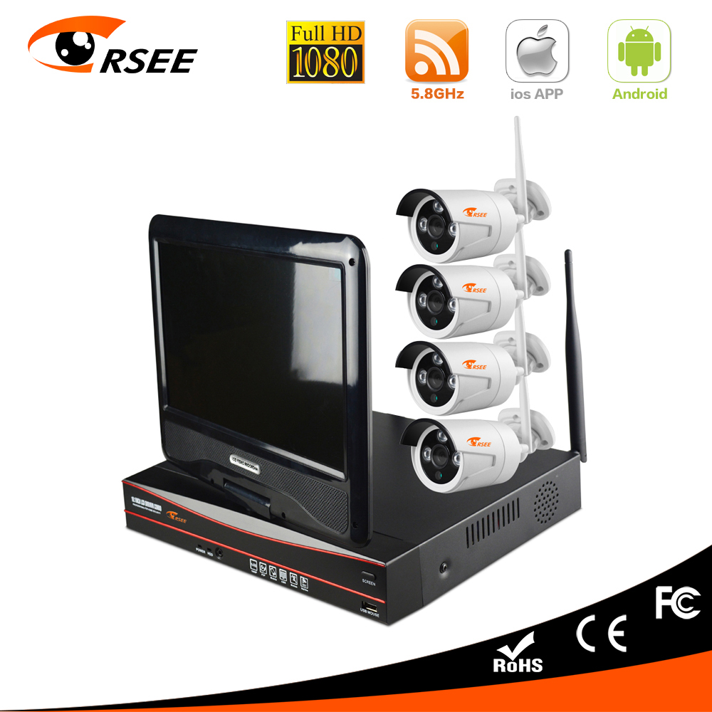 """CORSEE 4CH 1080P Outdoor HD Wireless Wifi Surveillance NVR Kit 10"""" LCD Screen Waterproof Security CCTV IP Camera System 1TB HDD(China (Mainland))"""