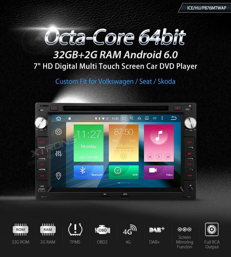 Android 6.0 OS 7″ Octa-Core Car DVD for Volkswagen Golf MK4 1997-2003 & Chico 2004-2009 & Sharan 1998-2009 with 2GB RAM 32GB ROM