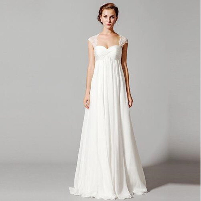 2016 white empire wedding dresses maternity women a line for Plus size maternity wedding dresses