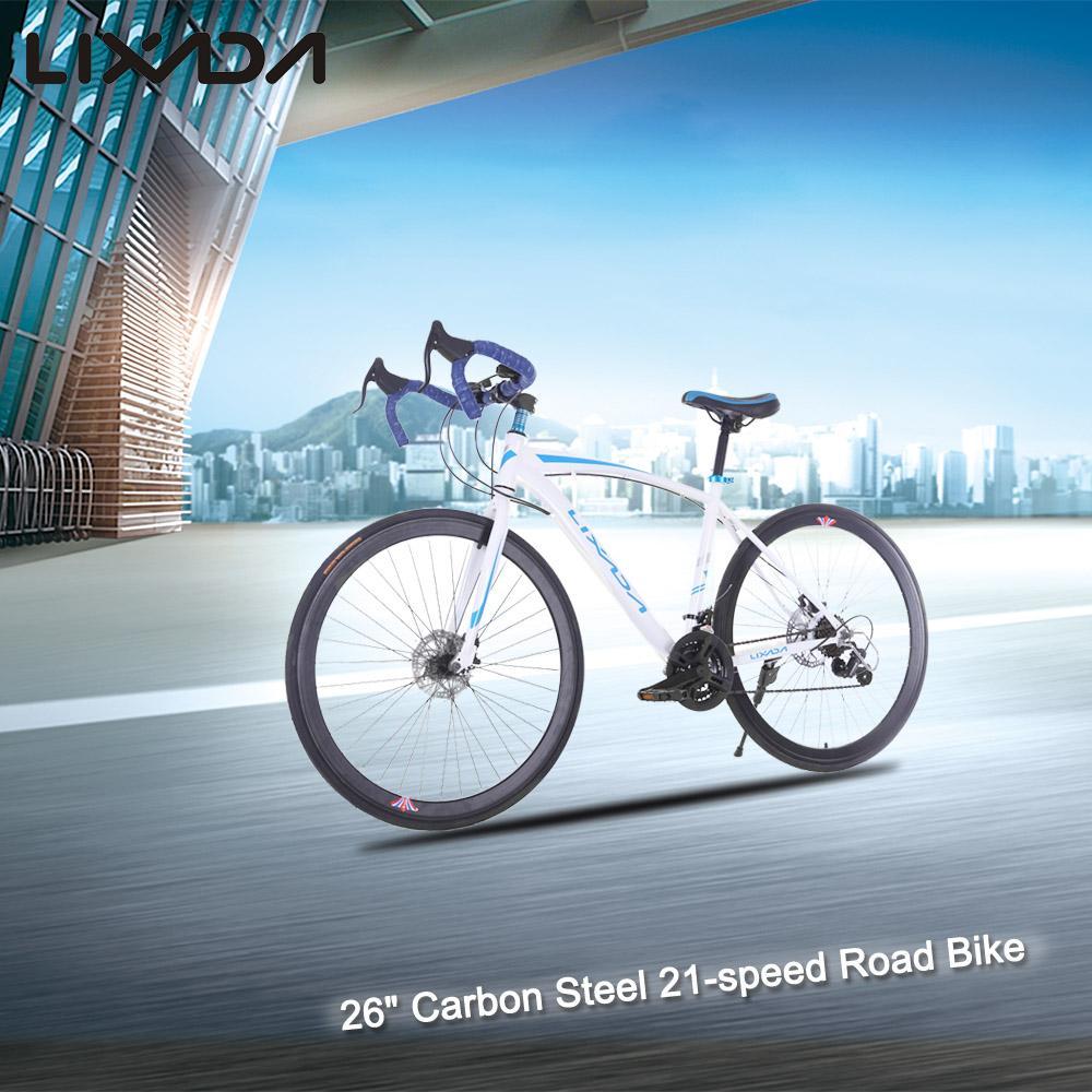 "Lixada 26"" Carbon Steel Bike 21-speed Derailleur Road Bike Bicycle Bicycle Aluminum Ultralight Fork Cycling Racing Road Bike(China (Mainland))"