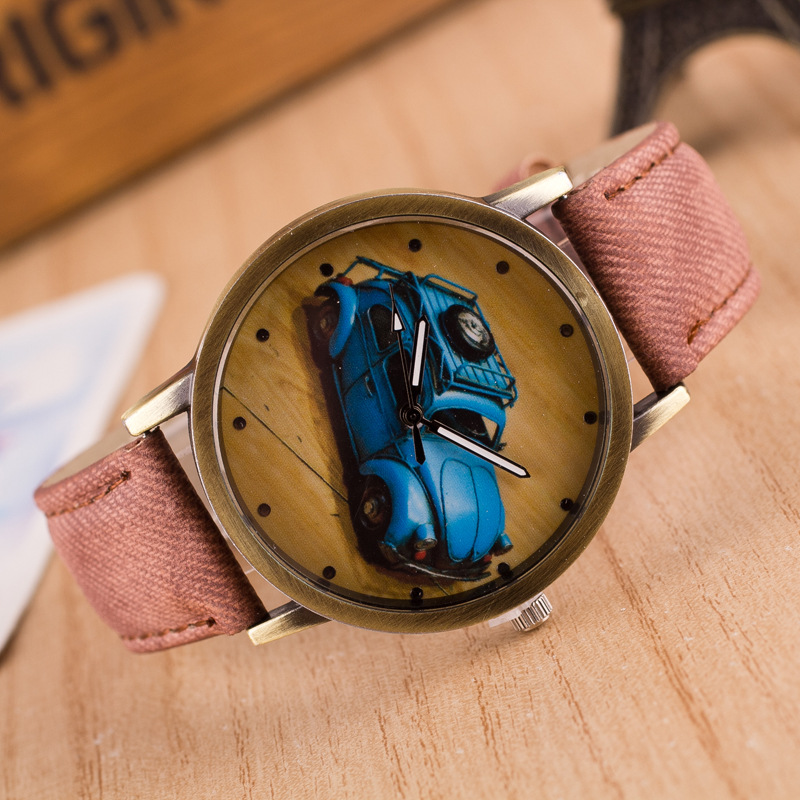 reloj mujer Retro colorful jeans b  wristwatches for boys   girls quartz br  new watches of classic car pattern dial T1300011
