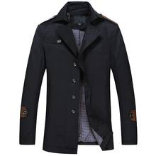 2015 Autumn Spring Trench Coat  Men Business Warm Casual Jacket Outwear  3 Colors Plus Size Clothing L-8XL F42(China (Mainland))