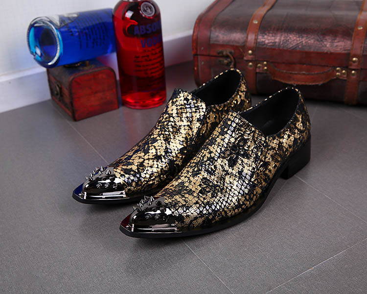 ROCK LUXURY 2015 New Pointed Steel Toe Men's Shoes Handsome Leather shoes Party/Night Club/Casual Business shoes Men, EUR38-46(China (Mainland))