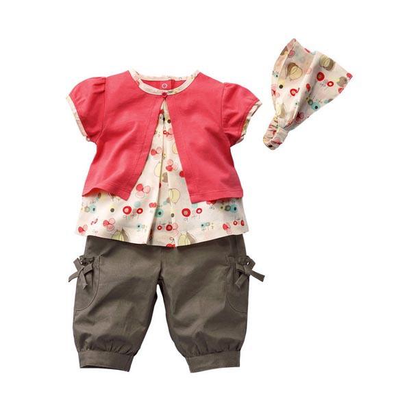3 Pcs Kids Baby Girls Fruits Pattern Top Pants Hat Outfits 0-3 Years Clothing set Hot Selling(China (Mainland))