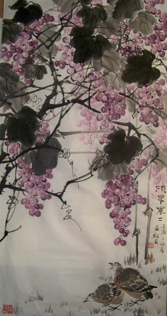 Grape and bird chinese painting art work on rice paper by famous artist,no mounting and no wood frame