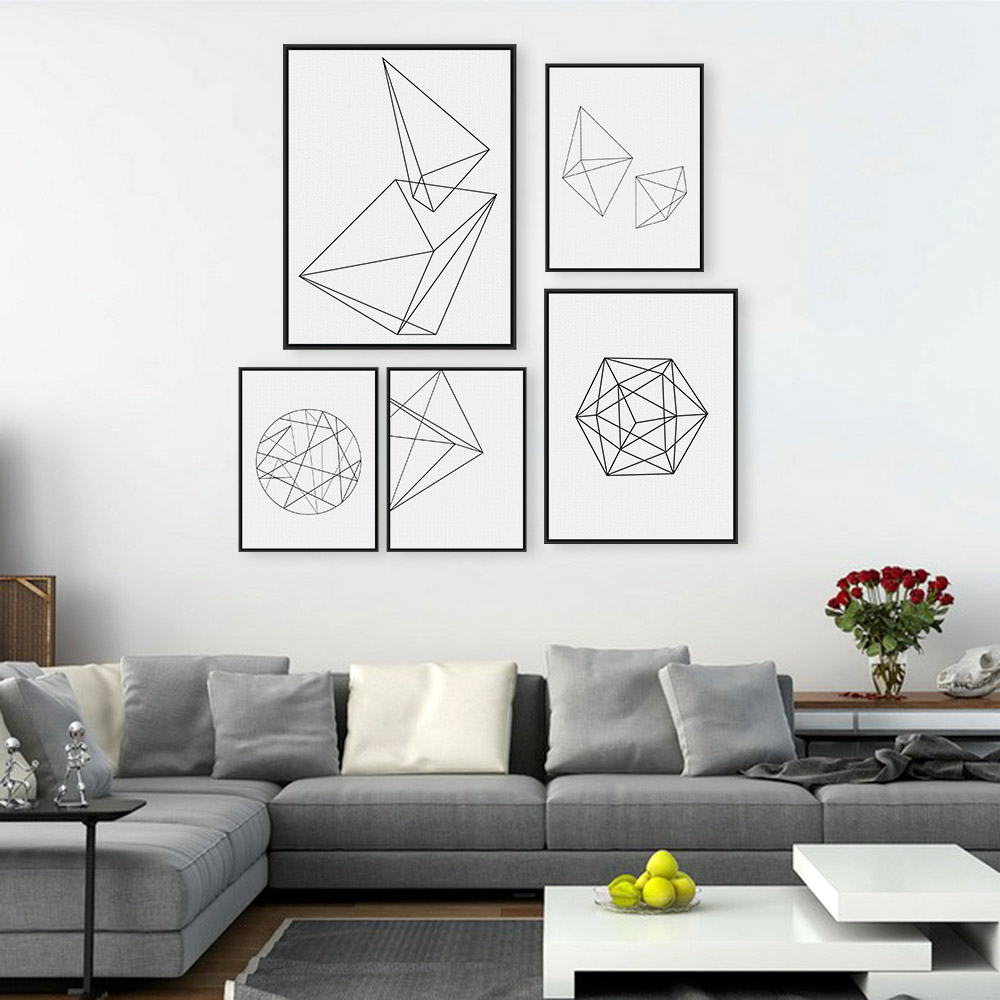 Modern nordic minimalist black white geometric shape a4 large art prints poster abstract wall - Wall paintings for home decoration ...