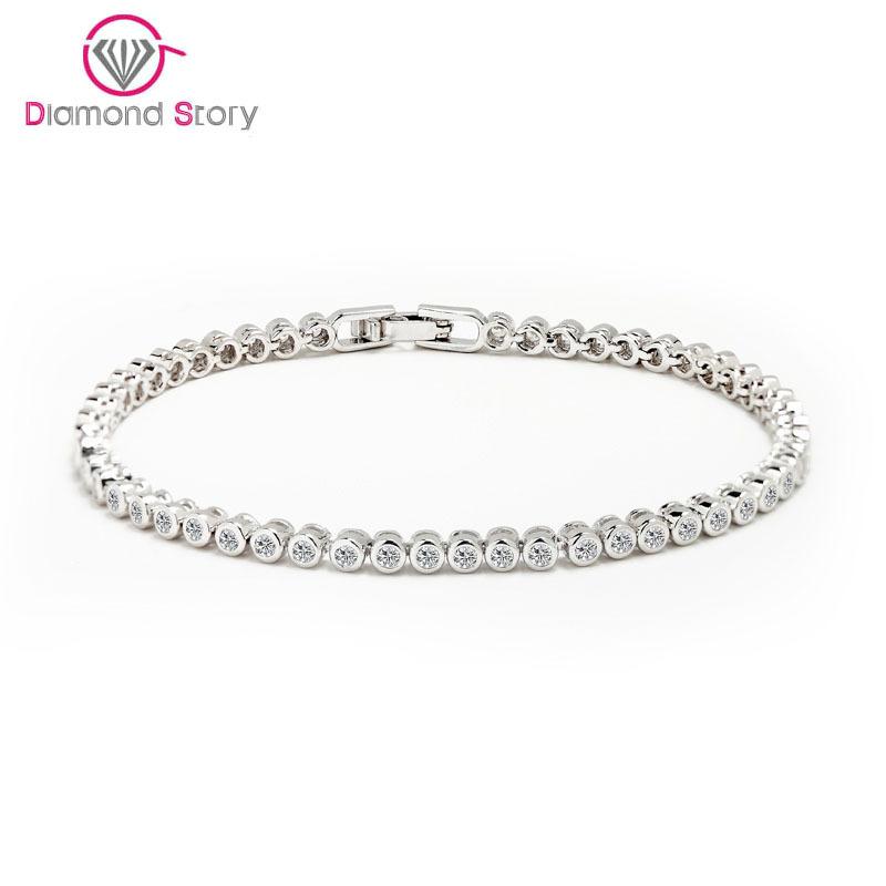 2015 Women Luxury Platinum Plated Genuine Round Clear CZ Tennis Bracelets &amp; Bangles For Elegant Party Jewelry<br><br>Aliexpress
