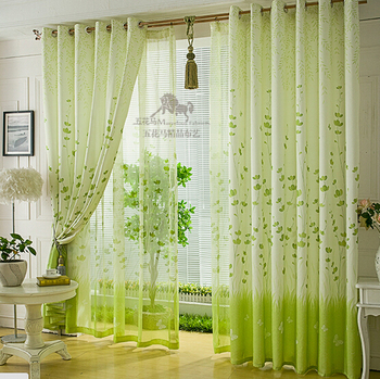 Free Shipping Customize green window curtain Fabric Cloth cheap curtain Half Shading Kitchen Curtains