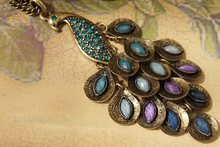 2015 New Antiqued Peacock Multi Sequin Long Necklace Statement Jewelry For Women Best Gift