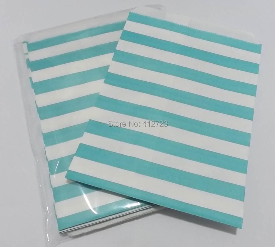 Party Favor Paper Bag light blue horizonal Stripes Paper Treat Candy Bag Bakery Bag wedding party supplies Popcorn Bags 50pcs(China (Mainland))