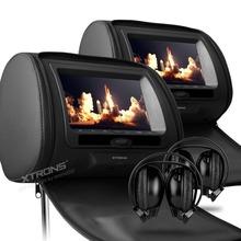 "XTRONS Black 2x7""  Digital Screen zipper Car Headrest DVD Player USB FM Game Disc Remote Control with IR Wireless Headsets(China (Mainland))"