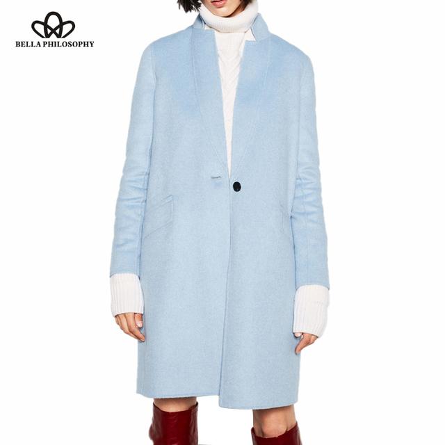 Белла Философии 2016 осень зима новый двойной стороне шерсть ручной светло-синий длинный жакет пальто