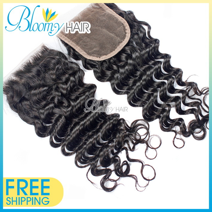 Free Shipping 4x4 Size Lace Closure Middle &amp; Free&amp; Three Parting Deep Wave Closure Natural Color Malaysian Curly Hair Closure<br><br>Aliexpress
