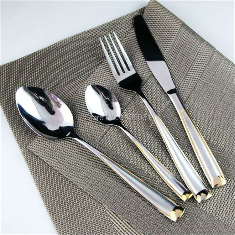 New 24pcs stainless steel gold flatware sets plated cutlery dinner set tableware silverware - Flatware set with stand ...