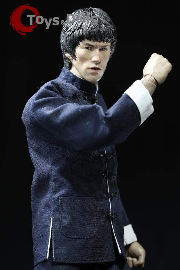 "Collectible 1/6 Figure Accessories Bruce Lee Male Head Sculpt+Kung Fu Suit Clothing Set F 12"" Action Figure Body Model Doll Toys(China (Mainland))"