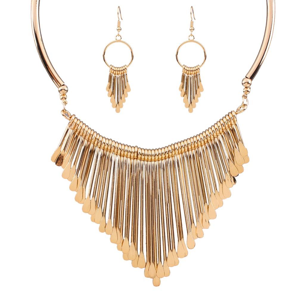 fashion europen bijoux jewelry set trendy chunky tassel