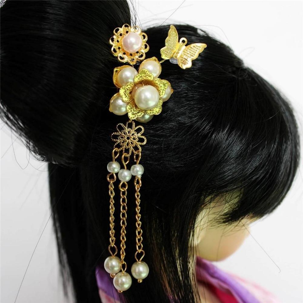 [wamami] 699# OOAK Chinese Ancient Bead Flower Flower Hairpin 1/3 1/4SD AOD BJD Dollfie(China (Mainland))