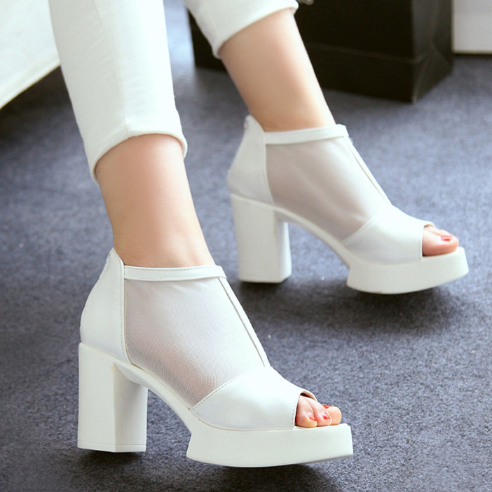 ENMAYER Black White Cut-Outs Ankle boots for women  Peep Toe Zip boots high heels shoes Martin boots  summer new women boot<br><br>Aliexpress