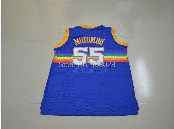 Denver #55 Dikembe Mutombo Jersey Retro Basketball Jersey Stitched Logo Rev 30 Throwback Sports Jerseys Basketball Shirt(China (Mainland))