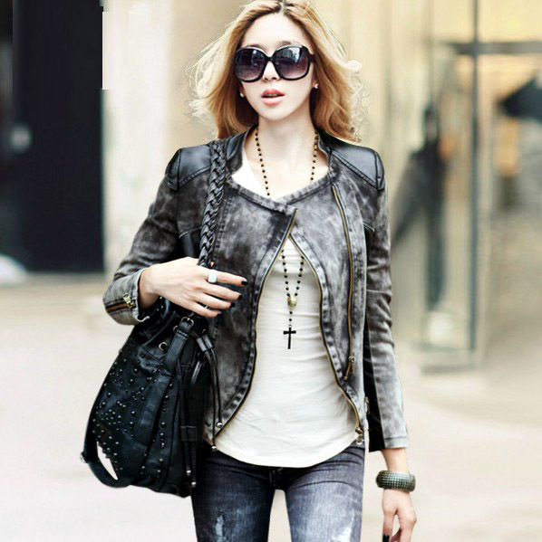 Free shipping New Autumn and Spring Women's Jacket PU Leather Jacket Patchwork Cowboy Short Coat Fur Clothing