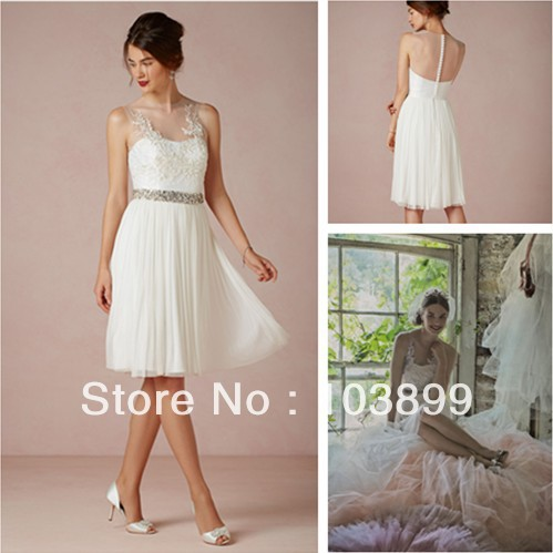 In fashion elegant see through embroidery beaded chiffon for Knee high wedding dresses