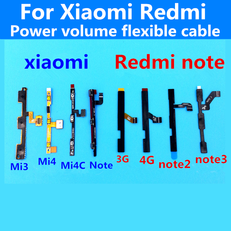 original volume up/down+power on/off Button Flex Cable For XIAOMI 1S 2A 3 MI3 mi4 4C Redmi note2/3 3G 4G cell phone Repair Parts(China (Mainland))