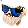 BOBO BIRD High Quality Vintage Black Square Sunglasses With Bamboo Legs Mirrored Polarized Summer Style Travel