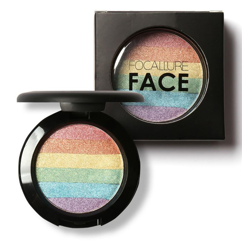 6 Mix Colors Rainbow Highlighter Makeup Palette Cosmetic Blusher Shimmer Powder Contour Eye shadow Face Changing Highlight Hot