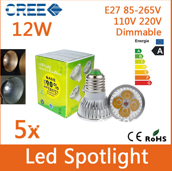High Power Dimmable MR 16 GU10 E27 E14 4x3W 12W Led Spotlight Lamp 85-265V 110v 220V 12V Led Light Bulb(China (Mainland))
