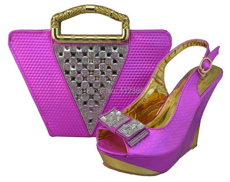 Beautiful Fushia pink color Italian lady Matching shoes bag wedding party via DHL - African Fashion clothing store