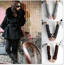 1 Pair Fashion Unisex Autumn/Winter Hand Arm Crochet Knit Long Stretchy Fingerless Gloves Warm Free Shipping(China (Mainland))