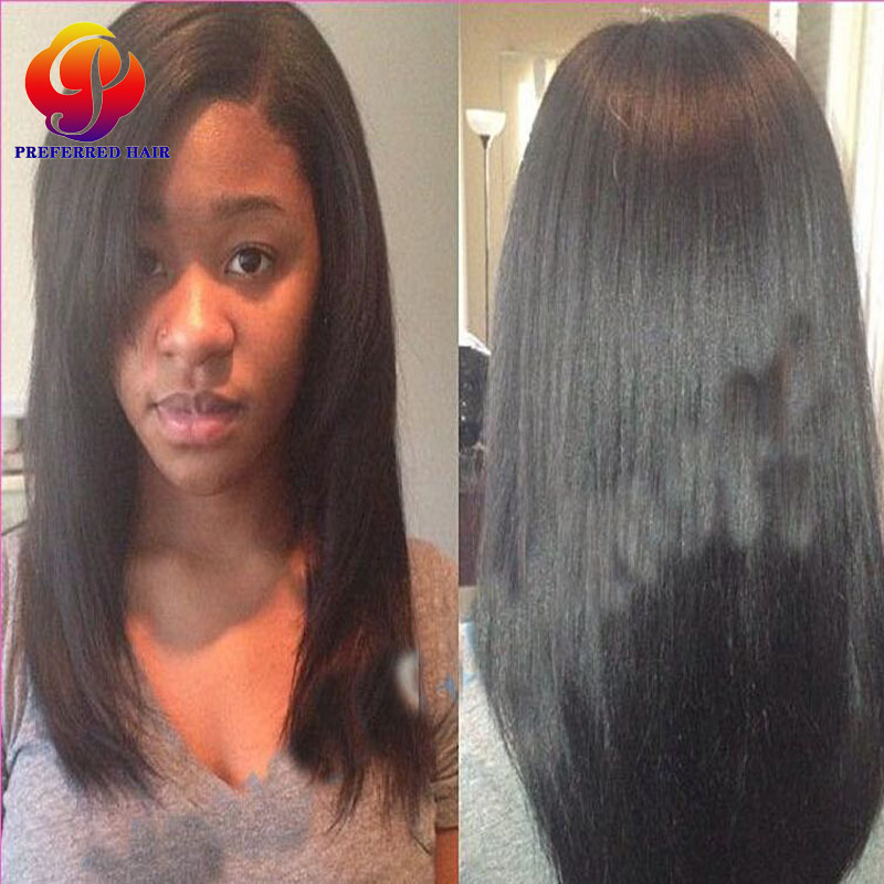 Фотография Best Virign Brazilian Front Lace Wig Silky Straight Remy Human Hair Lace Front Wigs Cheap Glueless Full Lace Wig With Baby Hair