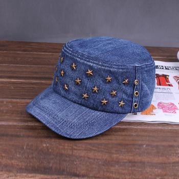 Flat cowboy hat dark color hat fashion bling water wash cap military hat denim cap