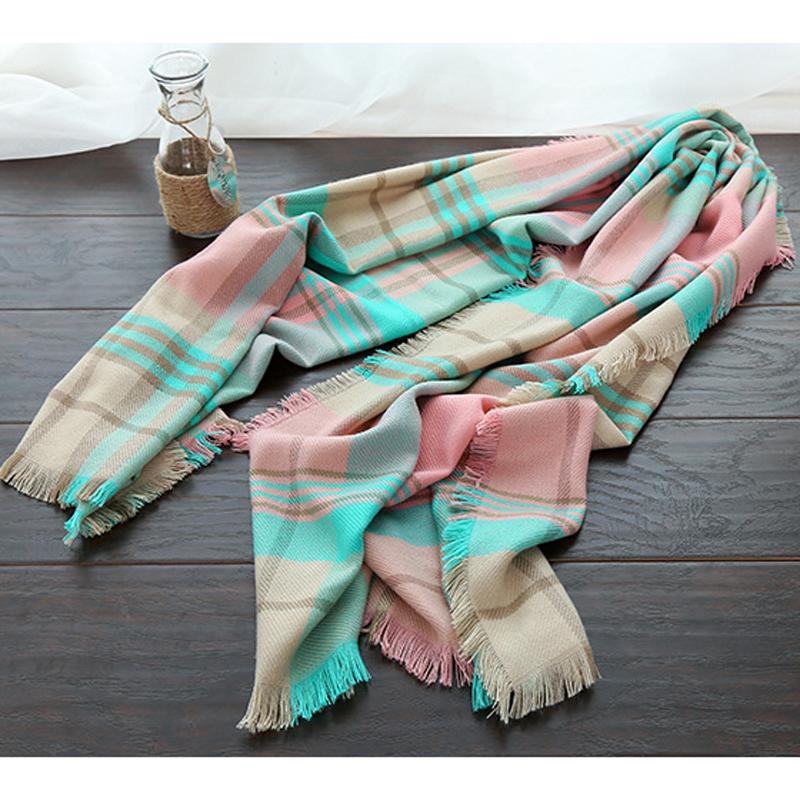 200x80 cm Classical font b Tartan b font Scarf Women Wool Neck Scarves Femme Winter Plaid