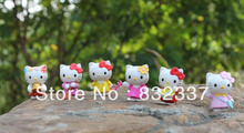 High Quality PVC Cute Hello Kitty student anime figures 6pcs/set Toys Free Shipping