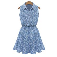 Attractive 1PC Summer Fashion Women Lady Lapel Sleeveless Casual Slim Denim Dress JE30(China (Mainland))