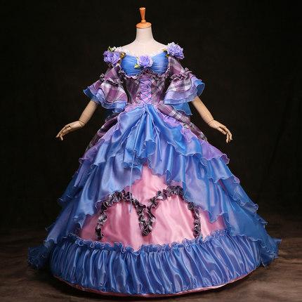 2015 Elegant Blue Half Sleeve Marie Antoinette Party dress For Women Customized(China (Mainland))