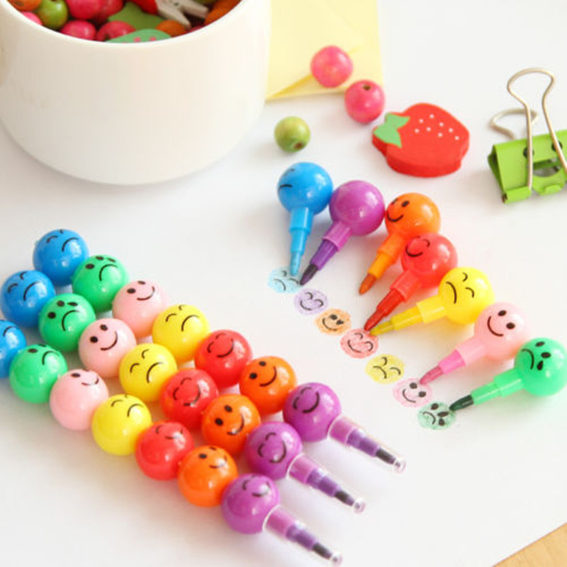 Details about New 7 Colors Cute Stacker Swap Smile Face Crayons Children Drawing Gift 2016 NEW(China (Mainland))