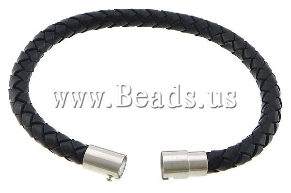 Free shipping!!!Cowhide Bracelet,Cheap Jewelry Wholesale, brass magnetic clasp, platinum color plated, black, nickel