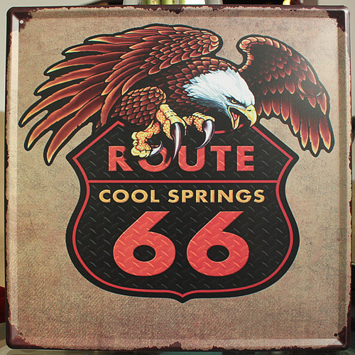 HD1505 Retro American Village Cafe Bar Eagle Route 66 Cool Spring Metal Iron Jewelry Metal Decor Painting Tin Wall Decor 30x30cm(China (Mainland))