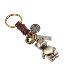 Cute Animal Bear Style Keychain Car Keyring Hand Made Genuine Leather Key Chain for Men Bag Charm Pendant Accessories PWK0692(China (Mainland))