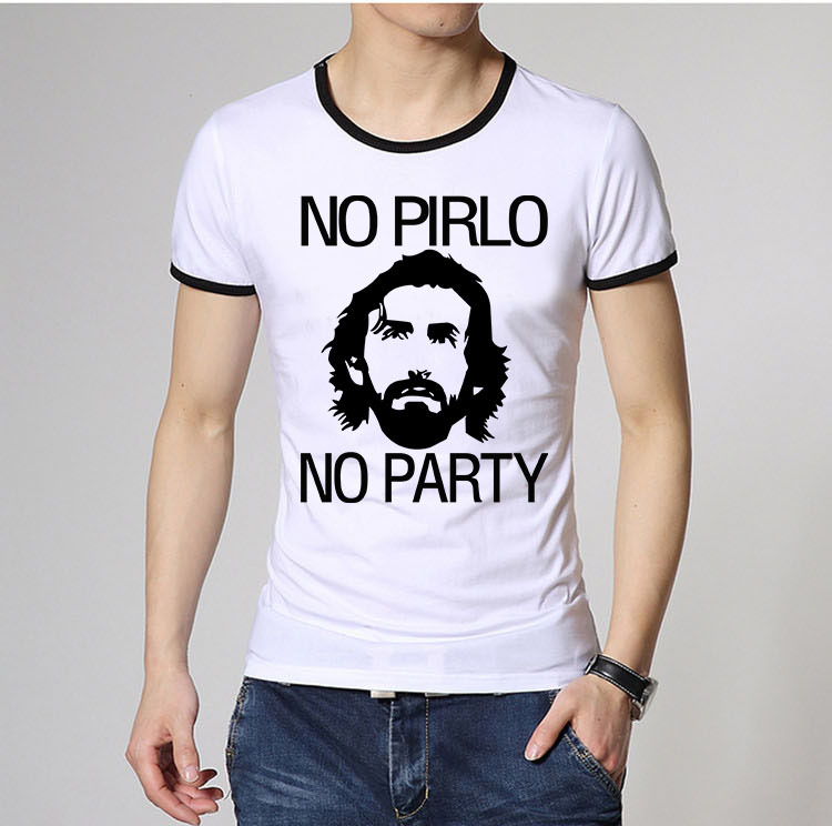 Men Fashion Italian Andrea Pirlo Juventus T Shirts Ringer Short Sleeve Pattern Printed Male Sports Casual tee shirts Top Quality(China (Mainland))