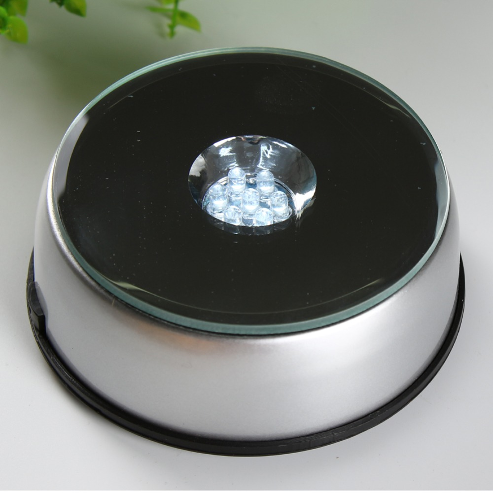 LED Plastic Light Stand Big Rotary Light Base for Jewelry Watch 3D Crystal Display 7 Light Bulbs 120mm(China (Mainland))