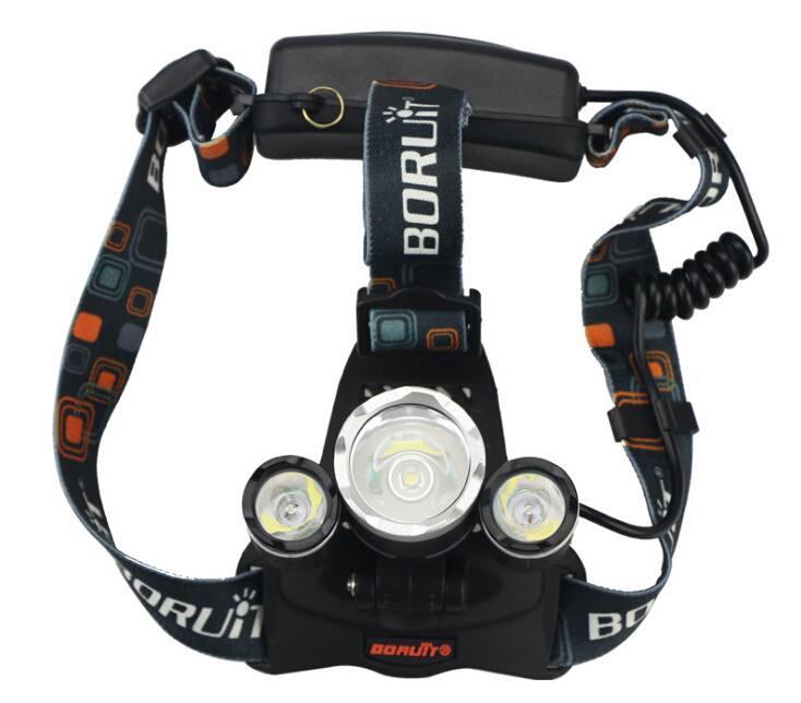 Linterna frontal Brand Boruit RJ-3000 3T6 LED Headlamp 5000 Lumens Head torch lamp 3x CREE XML T6 LED Headlight by 18650 battery(China (Mainland))