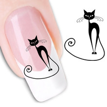 Water Transfer Nail Art Stickers Decal Beauty Sexy Wild Black Cats Design Decorative DIY French Manicure Foils Stamping Tools