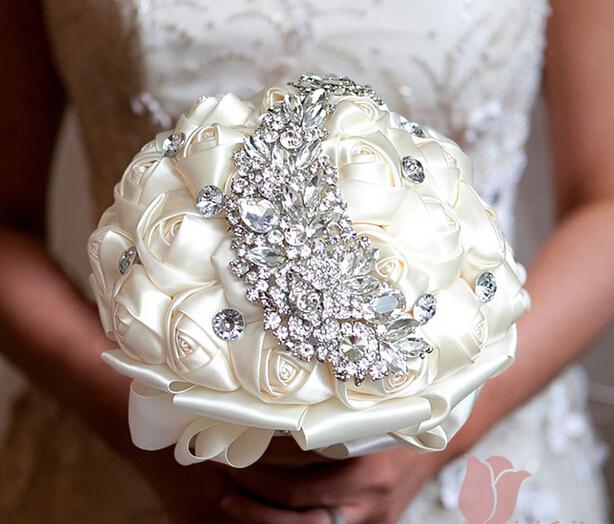 New design hot sell HandMade Top quality beaded Brooch silk Flower bride Bridal wedding bouquet Artificial flower(China (Mainland))