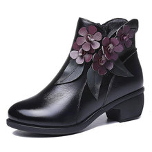 2019 kış patik kadın çizmeler Vintage hakiki deri düşük topuklu ayakkabılar yuvarlak ayak ayakkabı moda bayanlar yarım çizmeler kadınlar için(China)