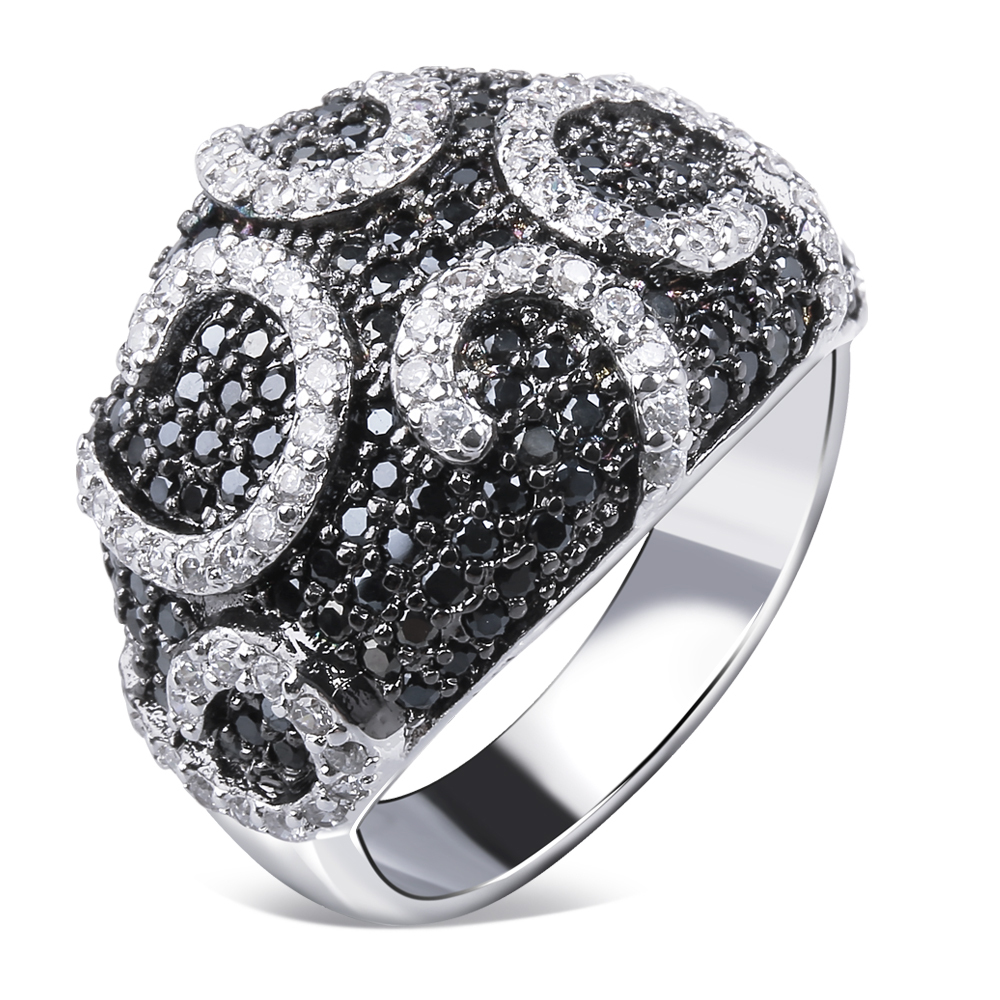 designer jewelry ring paved with cz stones ring with