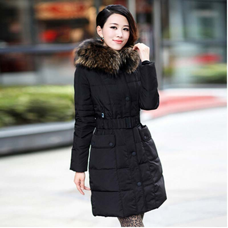 new 2016 winter warm thick fur colla Long down jacket Coat ...
