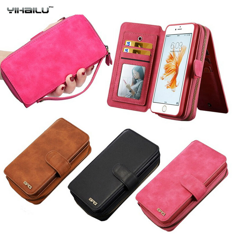 Luxury PU Leather Cases For iPhone 6s Multipurpose Handbag Flip Card Slot Zipper Mini mirror Wallet Case For 6S Plus Back Cover(China (Mainland))